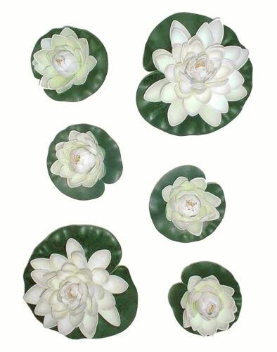 Artificial Flowers Replica Pond Lily 6 x Water Lilies Imitation Lotus Plants