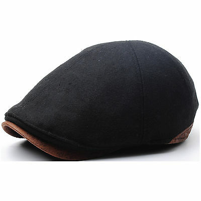 New Classy Design Men Style Wool Newsboy Cap Gatsby Flat Golf Hat Faux Leather