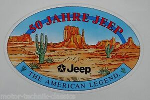 Promotional Stickers Jeep 50 Years The American Legend Vintage Wrangler Cherokee