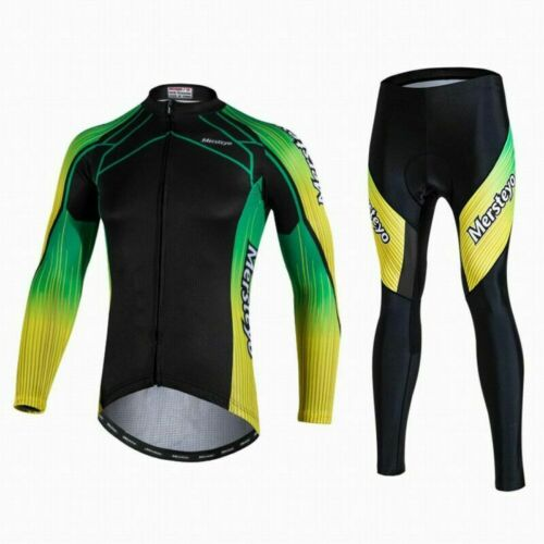 Mens Cycling Jersey Thermal Bike Road Trousers Top Long Sleeve Breathable Shirt