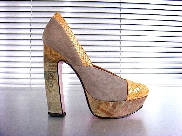 MORI ITALY PLATFORM HEEL PUMPS SCHUHE SHOES PYTHON LEATHER NUDE YELLOW yellow 45