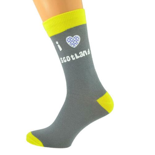 Ash Grey /& Yellow Unisex Socks I Love Scotland Scottish UK Size 5-12 X6N615