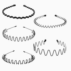 5x-Metal-Hairband-Waved-Unisex-Men-Women-Sports-Spiral-Plain-Headband-Black-Wave
