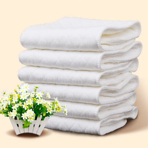 10PCS Cotton Cloth Baby Diapers Inserts Liners 3 Layers Reusable Newborn Nappy