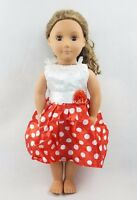 White & Red Dot Pattern Dress Party Skirt For 18'' American Girl Doll Clothes
