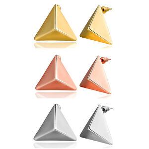 Damen-Ohrringe-Pyramide-Dreieck-Tetraeder-2-6-cm-pl-silber-gold-rotgold-Auswahl