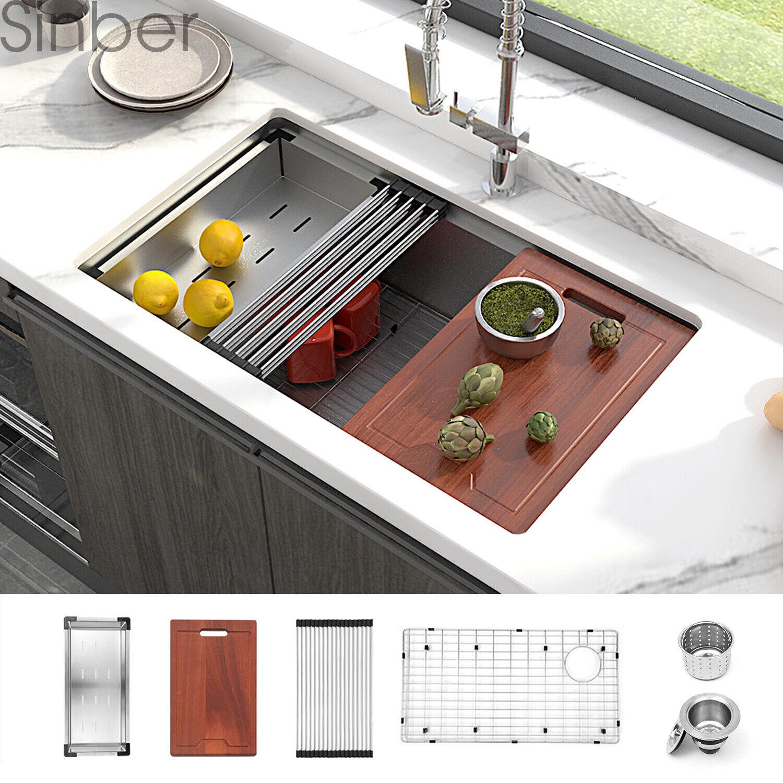 Super Single Bowl Zero Radius 16 Gauge Stainless Steel Undermount Kitchen Sink For Sale Online Ebay