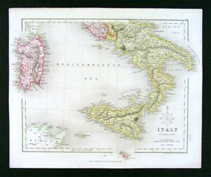 1850 Archer Map South Italy Naples Sicily Sardinia Malta Rome
