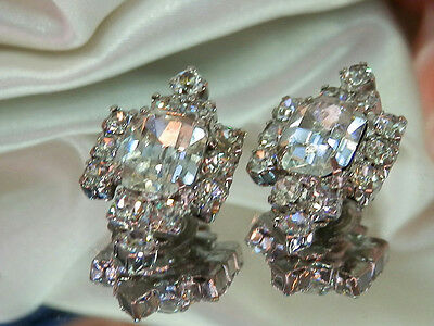 Super Elegant Vintage 1960's Ice Rhinestone Silver Tone Clip Earrings 13S