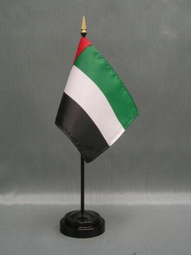 """UNITED ARAB EMIRATES 4X6/"""" de Table Drapeau Avec Base nouveau bureau Stick Drapeau"""