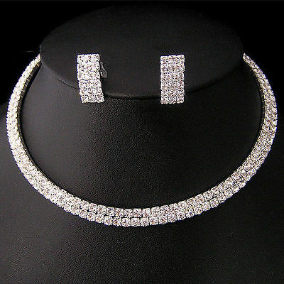 Wedding Bridal Crystal Necklace Choker Earring GP Silver Jewelry Set