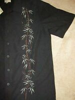 Trader Bay Button Up Hawaiian Bamboo Print Shirt Sz M Vacation Beach