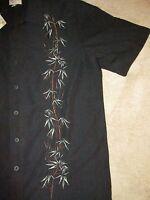 Trader Bay Button Up Hawaiian Bamboo Print Shirt Sz M Vacation Beach