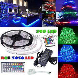 5M 5050 RGB LED Strip Light Waterproof Power Supply Adapter 24K 44Key IR Remote