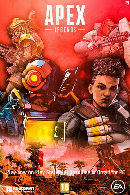 "Fight Gun Hot Video Game 24/""x14/"" Poster 007 Apex Legends"