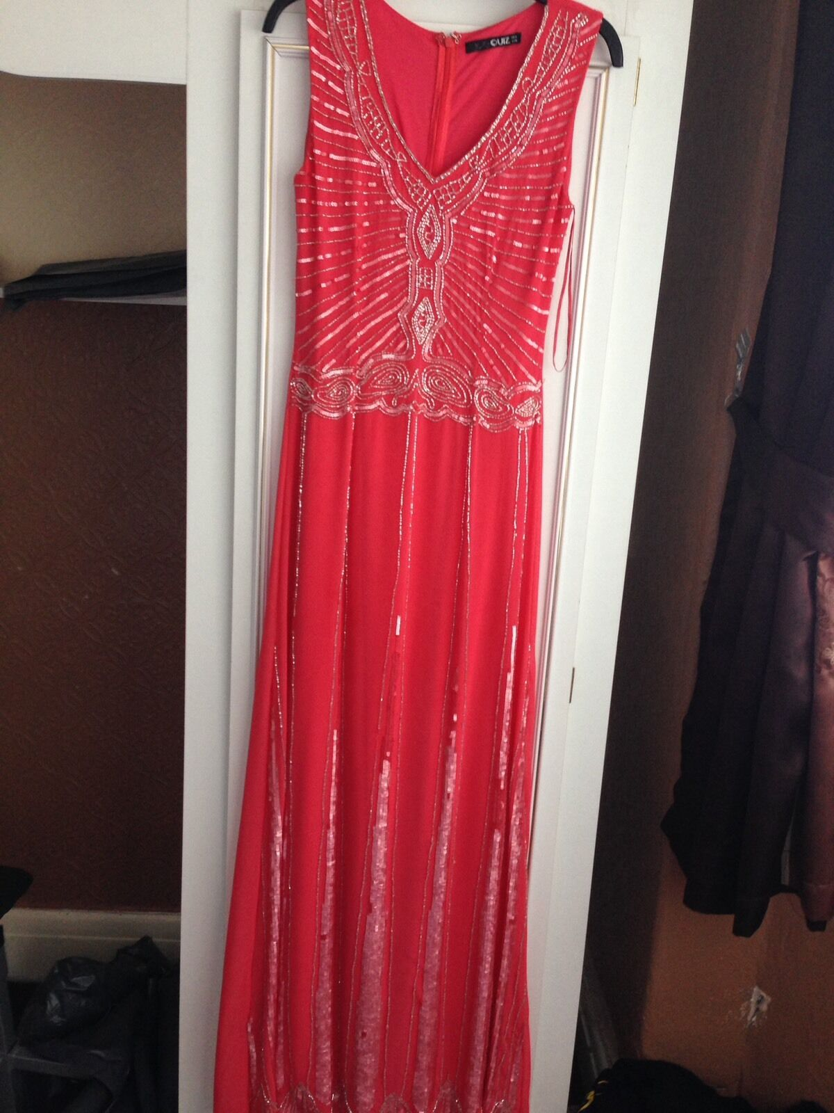 Quiz Coral Beaded Dress Size 8 Prom Party wedding Eid Diwali