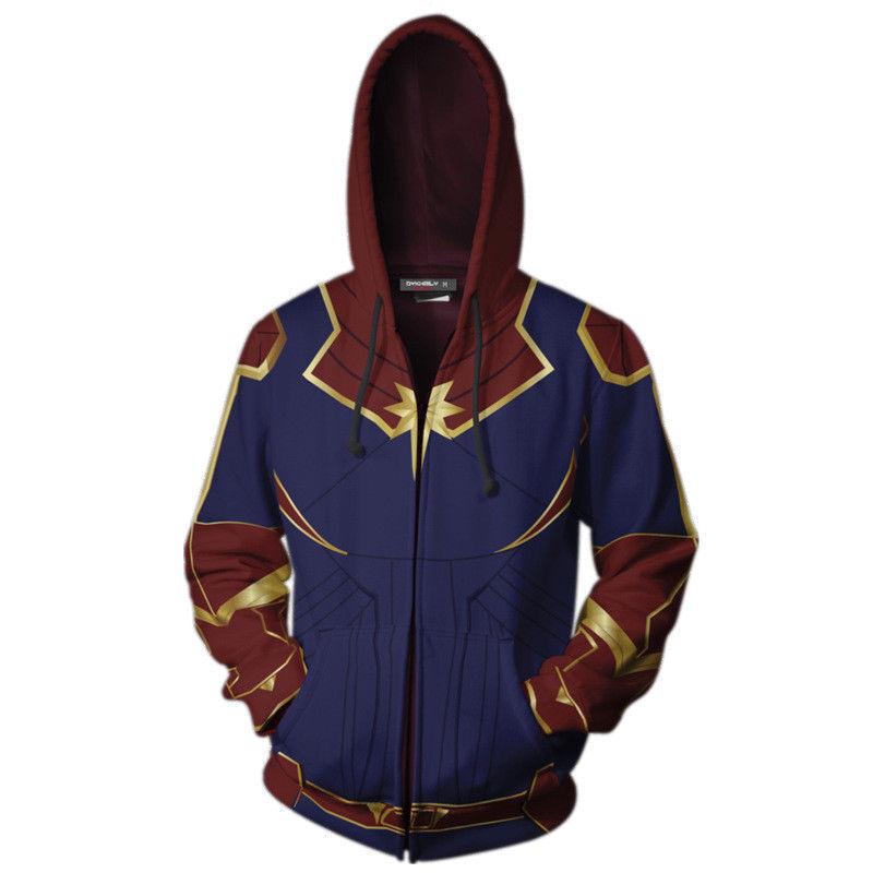7733421c495bb Capitaine Marvel Sweat à capuche Cosplay Carol Danvers Super héros Manteau  Veste 3 3 sur 4 ...