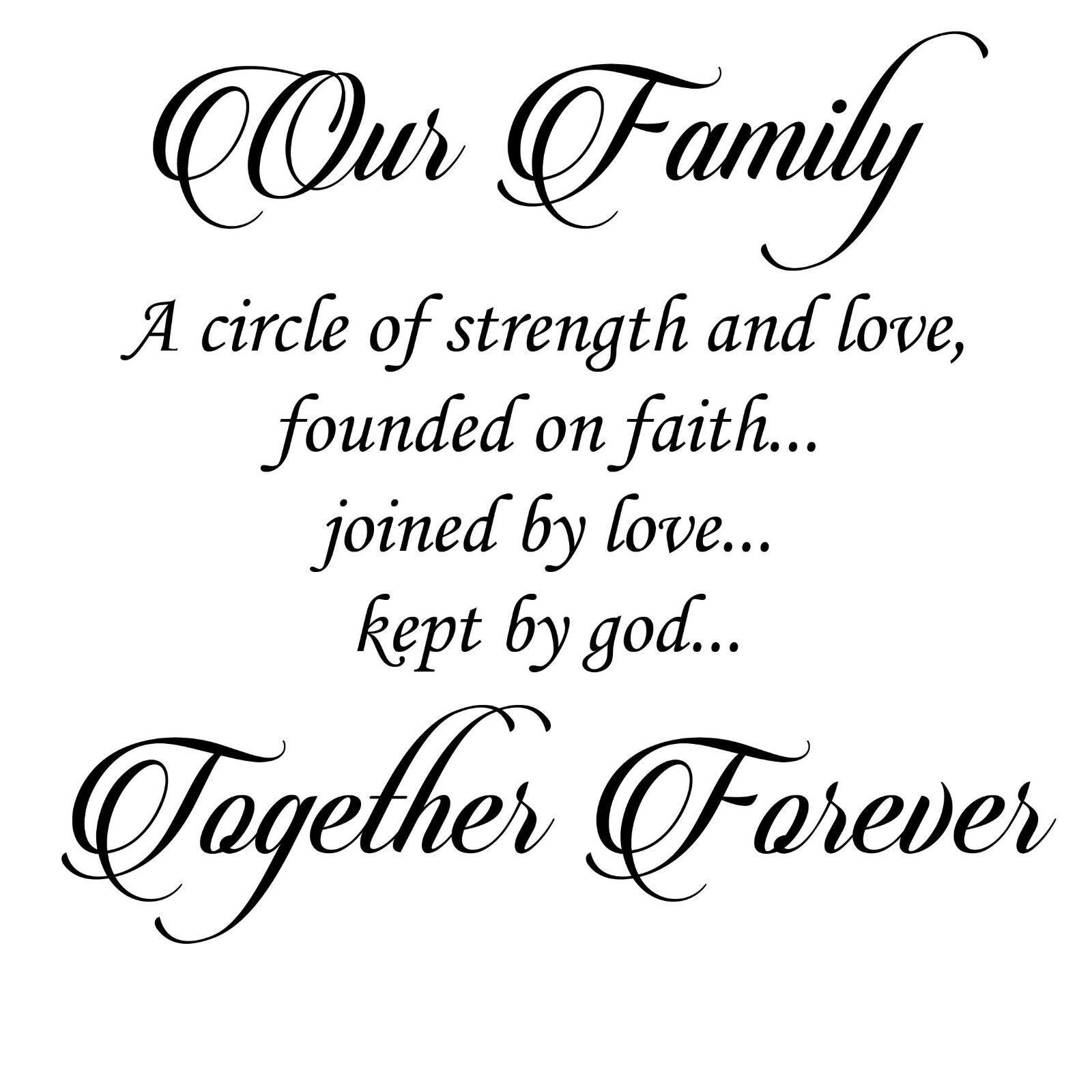 Our Family Family Family INSIEME PER SEMPRE CIRCLE FORZA LOVE adesivo parete decalcomania arte 2cb83f