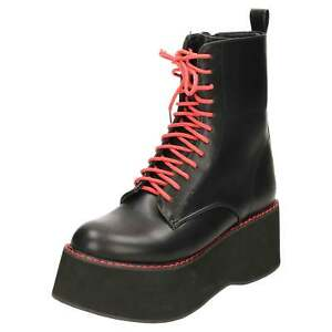f5258fe892b Black Chunky Mega Platform Gothic Punk Ankle Red Stitched Laced ...