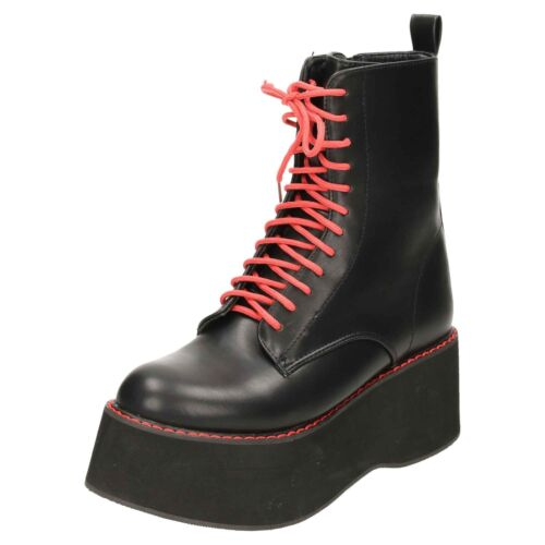 Platform Red Gothic Stitched Mega Ankle Combat Laced Boots Punk Black Chunky Eqgwa7