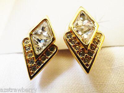S.A.L. Signed Swarovski Crystal Clear Clear diamond shape goldtone stud earrings