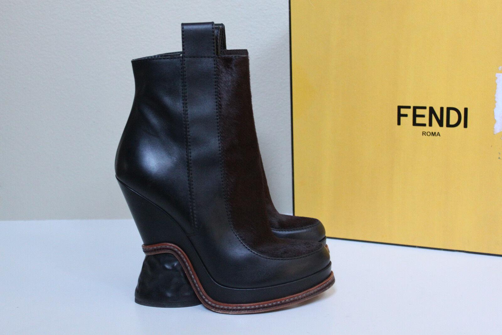 Nuevas Talla 9.5 40 de cuero marrón de Fendi Cuña Cuña Cuña al Tobillo Pony Cabello Chelse Tacón Zapatos Bota  nuevo listado