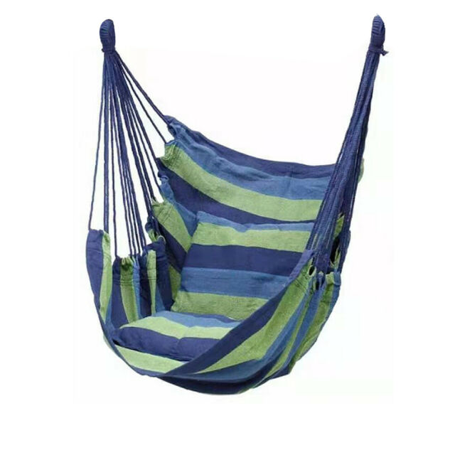 Toucan Outdoor Hammock Chair With Pillow Set Blue Green Striped For Sale Online Ebay