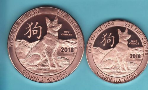 2018 Copper Round Coins   GSM /& 2 oz 2  Coin Set  YEAR OF THE  DOG  1 oz