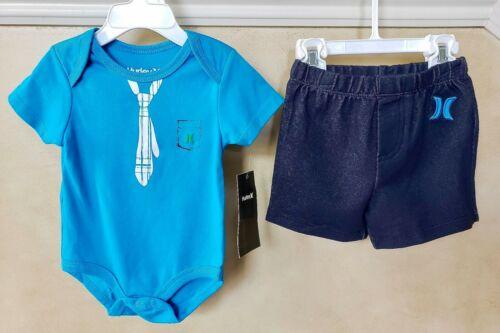 $42 NWT HURLEY boys t-shirt /& shorts SET outfit 3 6 9 Mon blue cotton bodysuit