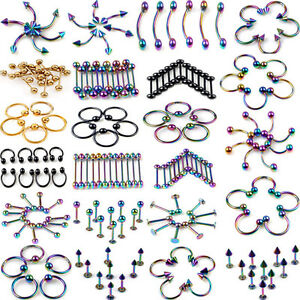120X-Wholesale-Lots-Stainless-Steel-Belly-Navel-Tongue-Lip-Body-Piercing-jewelry