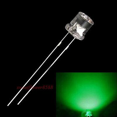 50pcs 3mm Flat top Green LED Wide Angle Flat Head Light lamp New Free Shipping
