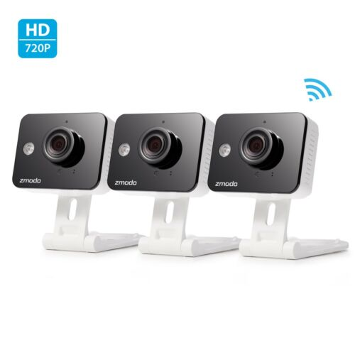 3Pack Zmodo 720p IP Indoor Two-Way Audio WiFi Security Camera Connect Wirelessly