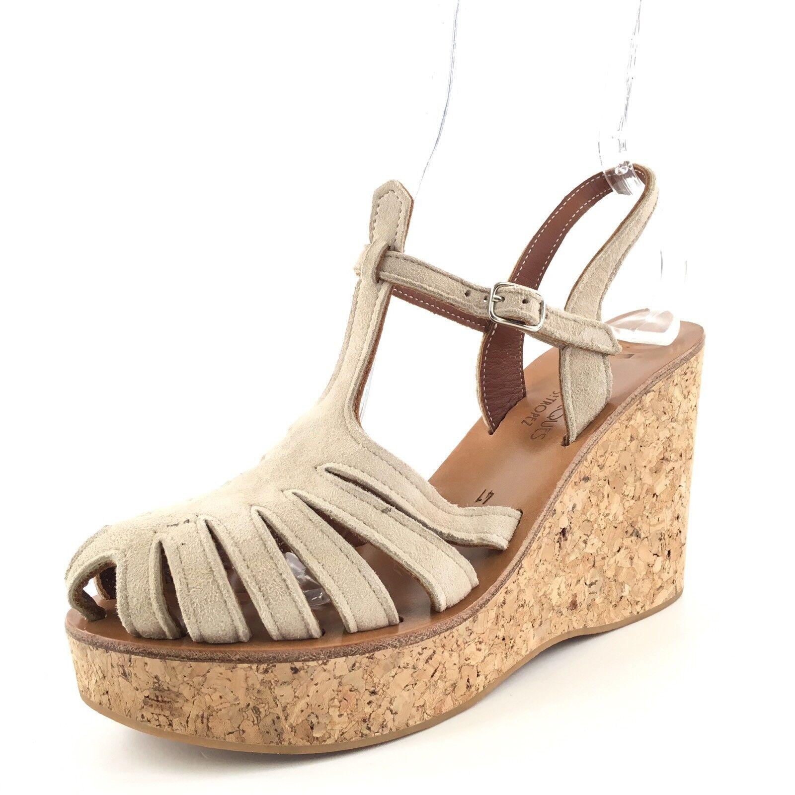 K. Jacques St. Tropez Taupe Suede Slingback Platform Sandals Women's Size 41 M