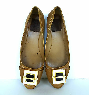 Tory Burch Brown Leather Flat Shoes 8 8M Enamel Ornament Ballet Ballerina Worn
