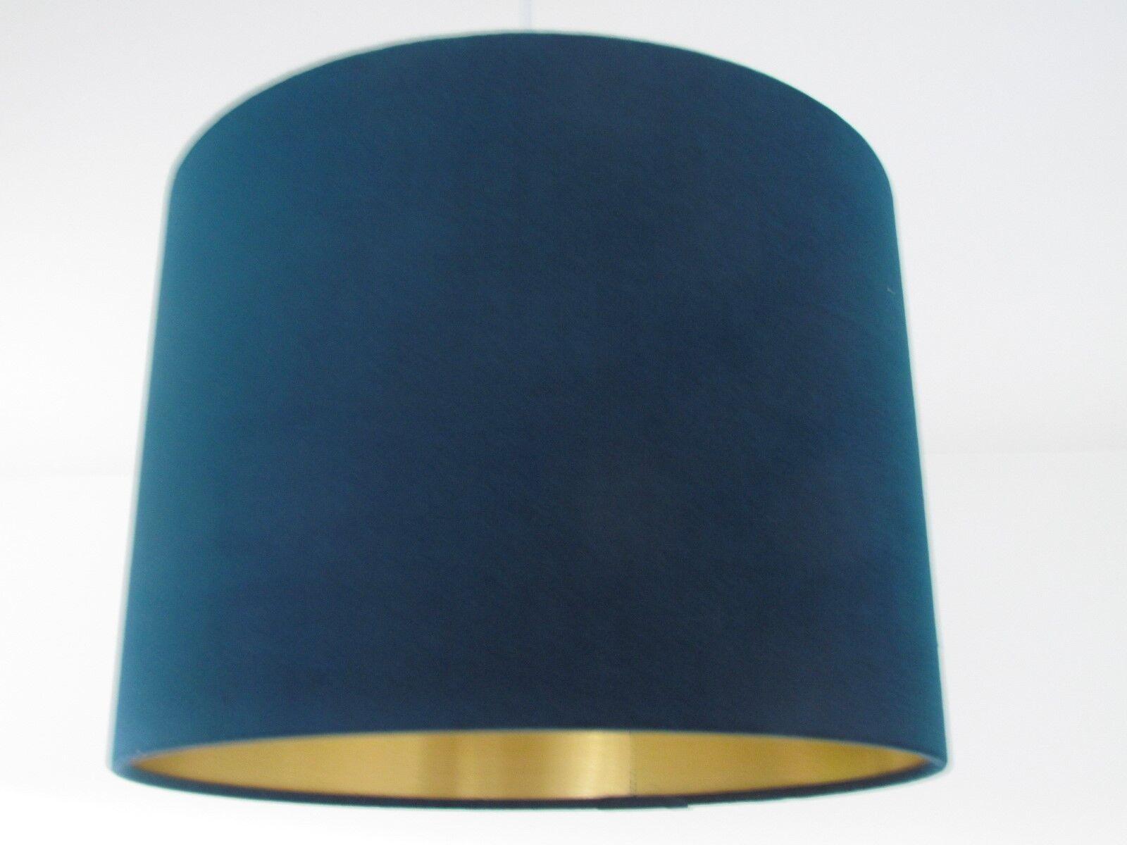 acquista online Fatto a mano colore colore colore foglia di tè blu velluto Rame oro argentoo Metallico Tamburo Paralume Lightshade  nessun minimo