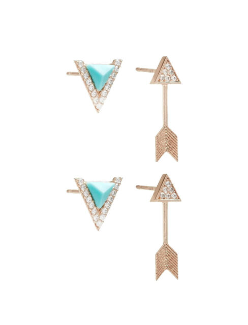 010f2811 LUCKY BRAND DELICATES Arrow Stud Set Sterling Silver Rose Gold Plated  Earrings