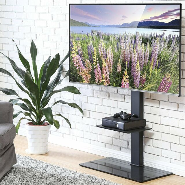 Fitueyes 2 Tier Floor Tv Stand With Glass Pedestal For 50 To 80