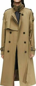 Women's Military Stylish Double Breasted Regular Belted Long Trench Duster Coat