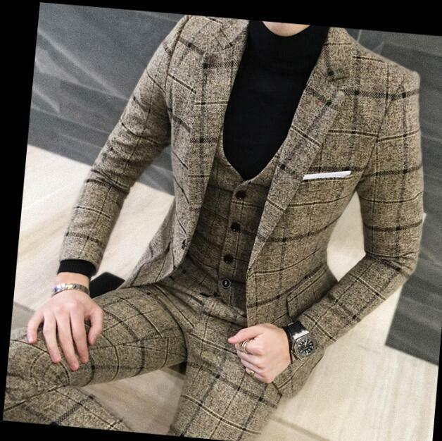 New 3Pcs Men Wedding Blazer Suits Slim Fit Bridegroom Casual Formal Coat Pants