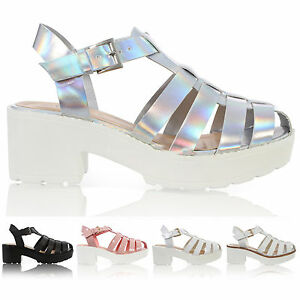 01d8bf4f96d Details about WOMENS CUT OUT CHUNKY BLOCK HEEL LADIES ANKLE STRAP GLADIATOR  SANDALS SHOES