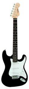 Guitare-Electrique-Strato-Noire-Avec-Vibrato-Et-Cable