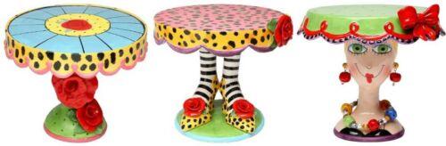set of 3 Leopard Print High Heels /& roses on stem /& Babs Face Design Cake Stands