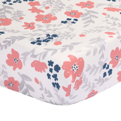 100/% Cotton Sateen Floral Fitted Crib Sheet Toddler Coral Pink and Navy Blue