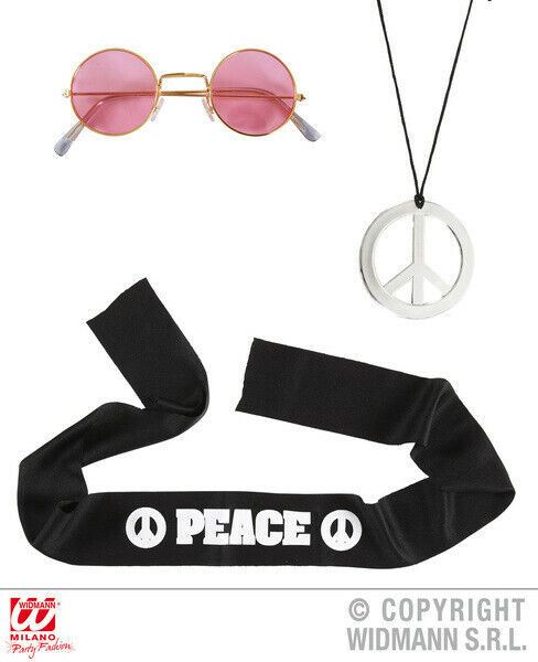Adult Hippie Set Costume Set 60s 70s Headband Glasses Peace Necklace Accessory