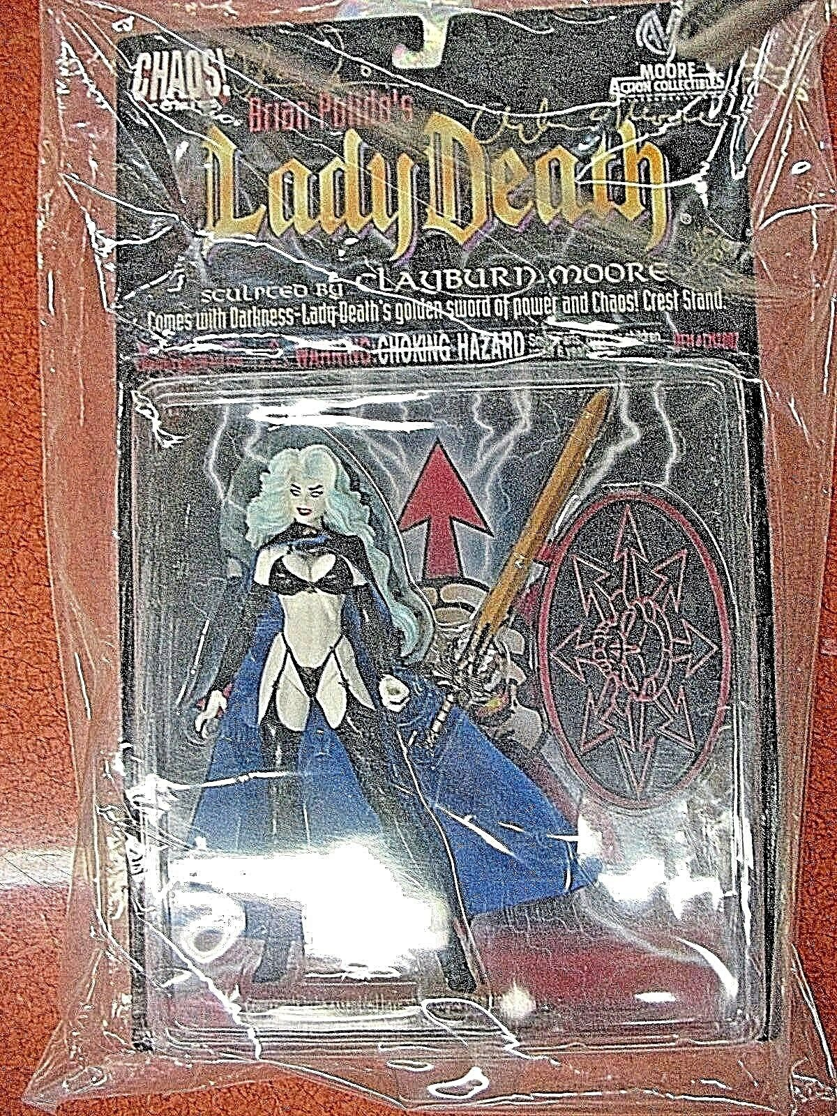 LADY DEATH FIGURE SEALED & SIGNED BY BRIAN PULIDO & CLAYBURN MOORE MOORE ACTION