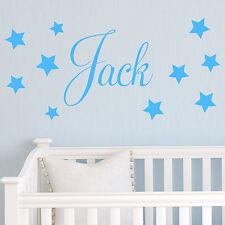 Baby Boys Wall Sticker - Personalised Stars Child Name Bedroom Nursery