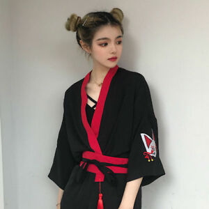 Japanese-Kimono-Shirt-Women-Fashion-Blouse-Yukata-Black-Red-Waistbelt-Drawstring