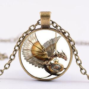 Retro-Steampunk-Drachen-Foto-Cabochon-Glas-Bronze-Anhaenger-Halskette-flYfE