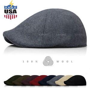 9d849e504450f EH 100% Wool Gatsby Solid Cabbie Ivy Hat Cap Golf Flat Driving ...