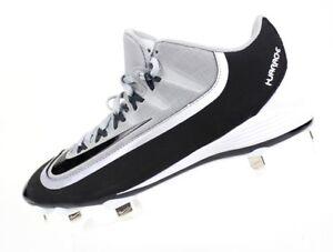New Nike Men's Black Gray Baseball Huarache With Metal Cleats 807126-001 Size 10